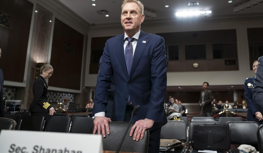 Acting Defense Secretary Patrick Shanahan goes before the Senate Armed Services Committee to discuss the Department of Defense budget, on Capitol Hill in Washington, Thursday, March 14, 2019. (AP Photo/J. Scott Applewhite)