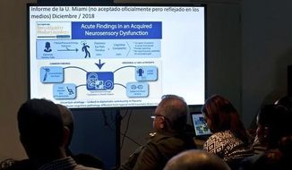 Cuban officials make a presentation on a series of mysterious illnesses suffered by U.S. and Canadian diplomats in Havana, reiterating that no evidence supports allegations that the symptoms resulted from high-tech attacks, during a news conference in Havana, Cuba, Thursday, March 14, 2019. (AP Photo/Ramon Espinosa) ** FILE **