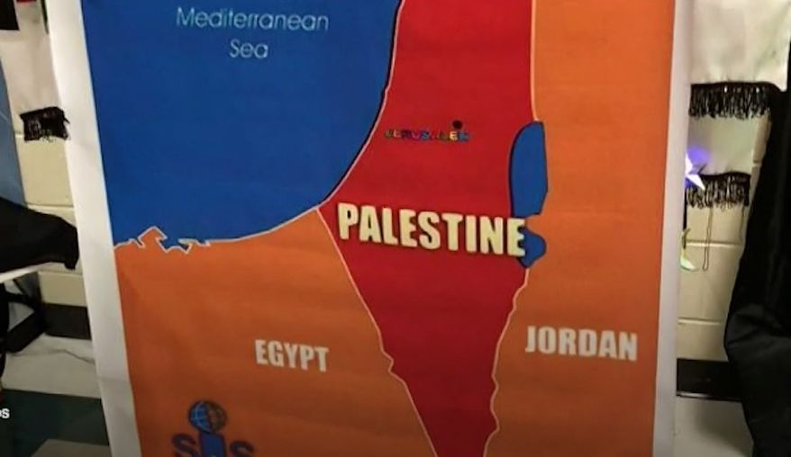 """A map displayed during a Georgia middle school's """"Multicultural Night"""" that replaced the entire state of Israel with Palestine has drawn condemnation from parents and the school district. (11 Alive)"""