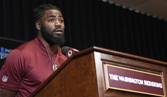 New Washington Redskins safety Landon Collins speaks during an NFL football press conference, Thursday, March 14, 2019, in Ashburn, Va. (AP Photo/Nick Wass)