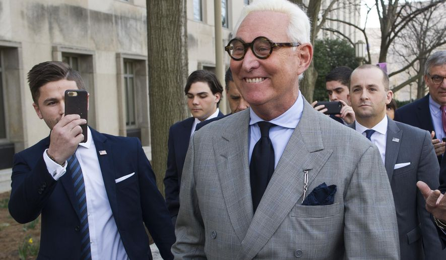 Roger Stone, an associate of President Donald Trump, leaves the U.S. District Court. (AP Photo/Cliff Owen)