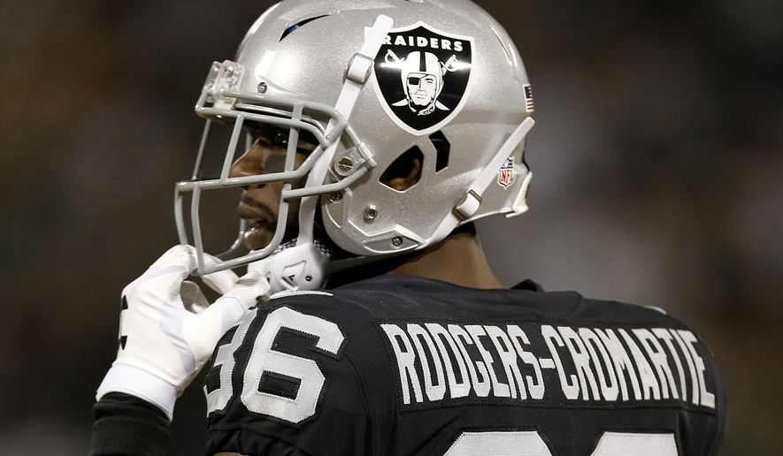In this Aug. 24, 2018, file photo, Oakland Raiders cornerback Dominique Rodgers-Cromartie (36) against the Green Bay Packers during the second half of an NFL preseason football game in Oakland, Calif. (AP Photo/D. Ross Cameron, File) **FILE**
