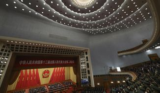 A military band plays the national anthem during the closing session of the National People's Congress in Beijing's Great Hall of the People on Friday, March 15, 2019. (AP Photo/Ng Han Guan) **FILE**