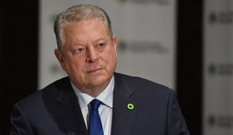 Former U.S. Vice President Al Gore, founder of the Climate Reality Project, speaks to The Associated Press in an interview, Friday, March 15, 2019, in Atlanta. Gore says the United States is nearing a political tipping point that will force elected officials to adopt more aggressive policies to combat climate change. (AP Photo/Mike Stewart) ** FILE **