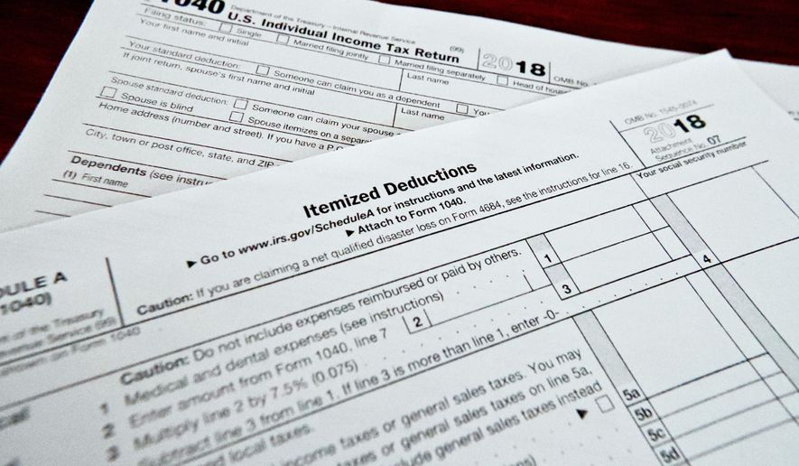 This Feb. 13, 2019, shows multiple forms printed from the Internal Revenue Service web page that are used for 2018 U.S. federal tax returns in Zelienople, Pa. (AP Photo/Keith Srakocic) ** FILE **