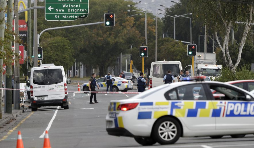 Shooting New Zealand Image: Police Block The Road Near The Shooting At A Mosque In