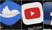 This combination of images shows logos for companies from left, Twitter, YouTube and Facebook are shown in this file photo. (AP Photos/File)
