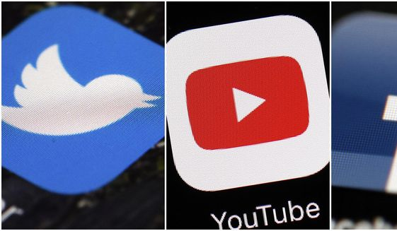 This combination of images shows logos for companies from left, Twitter, YouTube and Facebook are shown in this file photo. (AP Photos/File) **FILE**
