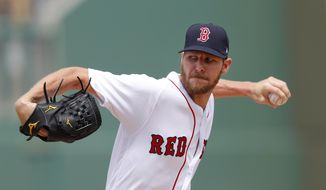 Boston Red Sox starting pitcher Chris Sale (41) works in the first inning of a spring training baseball game against the Atlanta Braves Saturday, March 16, 2019, in Fort Myers, Fla. (AP Photo/John Bazemore)