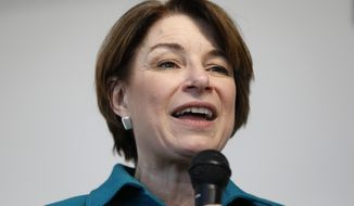 Democratic presidential candidate Sen. Amy Klobuchar speaks during a meet and greet with local residents, Sunday, March 17, 2019, in Cedar Rapids, Iowa. (AP Photo/Charlie Neibergall)