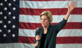Democratic presidential candidate Elizabeth Warren speaks to a group of about 400 potential voters at Douglas High School, Sunday, March 17, 2019, in Memphis, Tenn. (Jim Weber/The Commercial Appeal via AP)