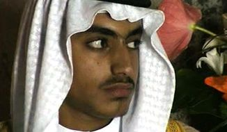 In this image from video released by the CIA on Nov. 1, 2017, Hamza bin Laden is shown at his wedding. Years after the death of his father at the hands of a U.S. Navy SEAL raid in Pakistan, Hamza bin Laden finds himself clearly in the crosshairs of world powers. The U.S. has put up to a $1 million bounty for him. The U.N. Security Council has named him to a global sanctions list, sparking a new Interpol notice for his arrest. His home country of Saudi Arabia has revoked his citizenship. (CIA via AP, File)