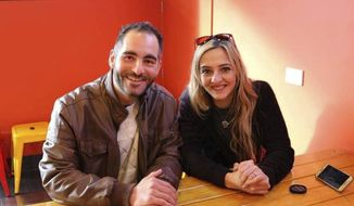 This photo provided by Aya Al-Umari shows Hussein Al-Umari and his sister, Aya Al-Umari, in early 2018. Hussein, left, 35, was killed in the Al Noor mosque attack in Christchurch, New Zealand, on Friday, March 15, 2019. (Aya Al-Umari via AP)