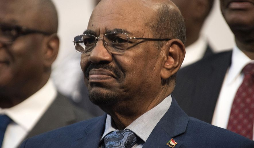 FILE - This June 14, 2015 file photo, shows Sudanese President Omar al-Bashir during a visit to Johannesburg, South Africa. On Sunday, March 17, 2019, hundreds of Sudanese took part in anti-government protests in the capital and other cities, as the government says it has secured $300 million in loans from Emirate-based sources to address the economic crisis that triggered the unrest. (AP Photo/Shiraaz Mohamed, File)