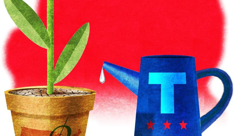 Illustration on the need for renewed economic stimulation by Alexander Hunter/The Washington Times