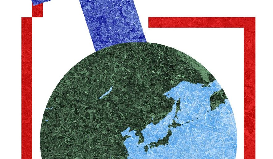 Illustration on the need for creative leadership in international affairs by Alexander Hunter/The Washington Times
