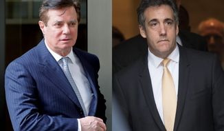 Both Paul Manafort, (left), and Michael Cohen were ensnared by special counsel Robert Mueller's investigation into President Trump's associates during the 2016 campaign, yet both were charged with crimes unrelated to the election campaign. (Associated Press photographs)