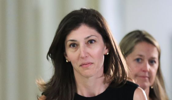 Former FBI lawyer Lisa Page leaves following an interview with lawmakers behind closed doors on Capitol Hill in Washington, Friday, July 13, 2018. (AP Photo/Manuel Balce Ceneta) ** FILE **