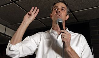Democratic presidential candidate Beto O'Rourke speaks to supporters at Gino's Cento Anno, Monday, March 18, 2019, in Cleveland. (AP Photo/Tony Dejak)