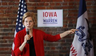 In this March 1, 2019, file photo, Democratic presidential candidate Sen. Elizabeth Warren speaks to local residents during an organizing event in Dubuque, Iowa. Warren is everywhere in the first three months of her presidential campaign: 11 states as of Tuesday. But where she's not is at the top of early 2020 polls. (AP Photo/Charlie Neibergall, File)