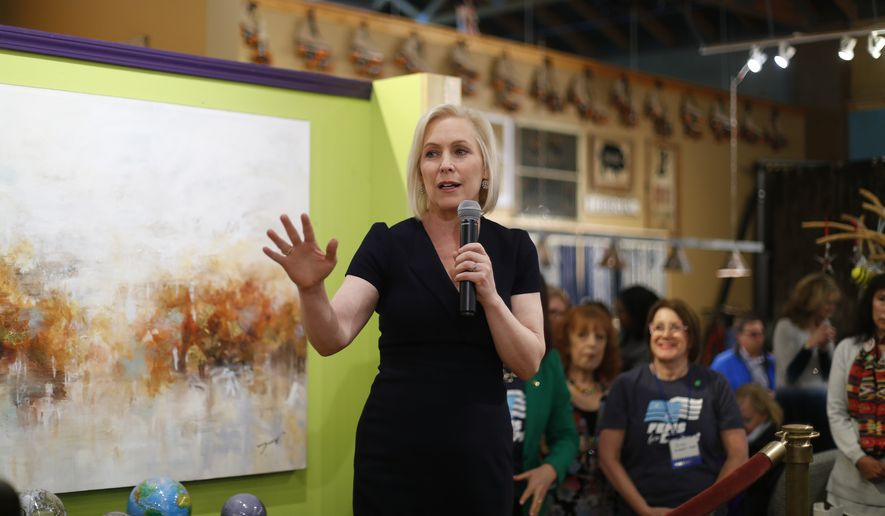 Democratic presidential candidate Sen. Kirsten Gillibrand, D-N.Y., speaks at a campaign meet-and-greet in Clawson, Mich., Monday, March 18, 2019. (AP Photo/Paul Sancya)