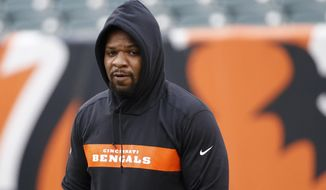 FILE - In this Dec. 16, 2018, file photo, Cincinnati Bengals outside linebacker Vontaze Burfict walks the field during practice before an NFL football game against the Oakland Raiders in Cincinnati. The Bengals terminated the contract of Burfict on Monday, March 18, 2019, releasing him to free agency. (AP Photo/Frank Victores, File)
