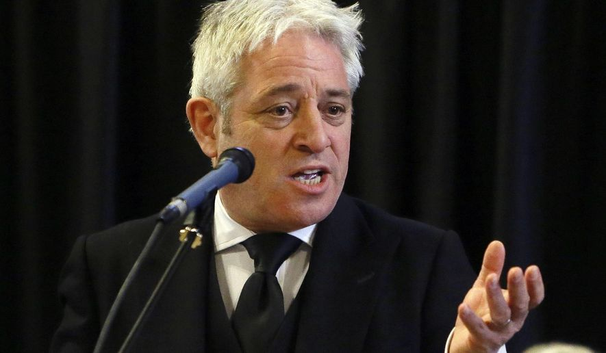FILE - In this file photo dated Thursday, March 22, 2018, John Bercow, Speaker of the House of Commons speaks at Westminster Hall inside the Palace of Westminster in London.  Bercow dealt a potentially fatal blow to Prime Minister Theresa May's ailing Brexit deal on Monday, March 18, 2019, saying the government couldn't keep asking lawmakers to vote on the same Brexit deal that lawmakers have already rejected twice.  (AP Photo/Alastair Grant, FILE)