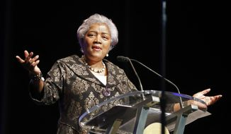 This May 7, 2018 file photo shows Donna Brazile speaking at the inauguration of New Orleans Mayor Latoya Cantrell in New Orleans. (AP Photo/Gerald Herbert, File)