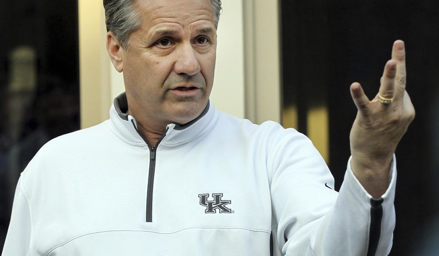 Kentucky head coach John Calipari addresses the media on his back porch after watching the NCAA college basketball selection show at his home in Lexington, Ky., Sunday, March 17, 2019. (AP Photo/James Crisp)