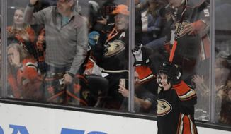 Anaheim Ducks right wing Jakob Silfverberg celebrates after scoring during the third period of the team's NHL hockey game against the Florida Panthers in Anaheim, Calif., Sunday, March 17, 2019. The Ducks won 3-2. (AP Photo/Chris Carlson)