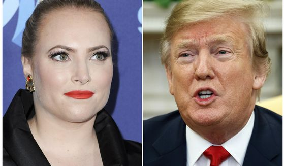 This combination photo shows TV personality Meghan McCain at the 26th Annual GLAAD Media Awards in Beverly Hills, Calif. on March 21, 2015, left, and President Donald Trump in the Oval Office of the White House in Washington on March 7, 2019. (AP Photo/Evan Vucci, File)