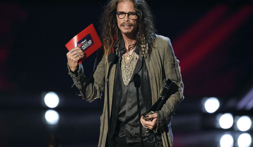 Steven Tyler presents the award for song of the year at the iHeartRadio Music Awards on Thursday, March 14, 2019, at the Microsoft Theater in Los Angeles. (Photo by Chris Pizzello/Invision/AP)