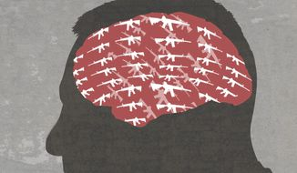 Illustration on mass shootings by Paul Tong/Tribune Content Agency