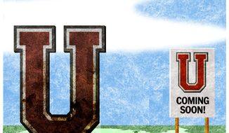 Illustration on the need for newly-founded universities by Alexander Hunter/The Washington Times