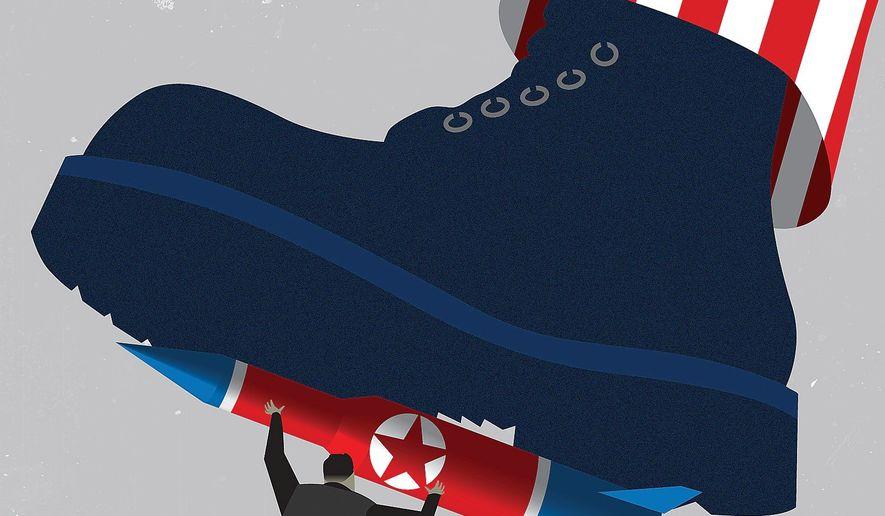 Illustration on negotiating with Kim Jong-un by Linas Garsys/The Washington Times