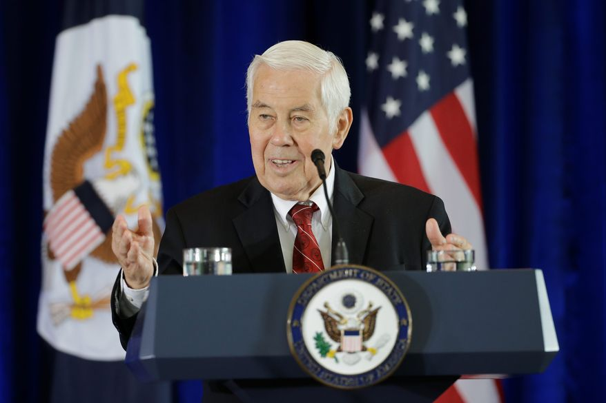 """""""Even as the rhetoric and overall atmosphere in Washington remains partisan, there is an appetite among many lawmakers for bipartisan problem solving,"""" said former Sen. Richard G. Lugar, Indiana Republican. (Associated Press)"""