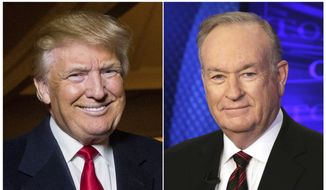This combination photo shows Donald Trump at the Trump National Golf Club in Sterling, Va., on Dec. 2, 2015, left, and former Fox News host Bill O'Reilly in New York on Oct. 1, 2015. Henry Holt and Company announced Tuesday that OReillys The United States of Trump: How the President Really Sees America will come out this fall. The publisher is calling the book a non-partisan and well-rounded take on Trump.  (AP Photo)