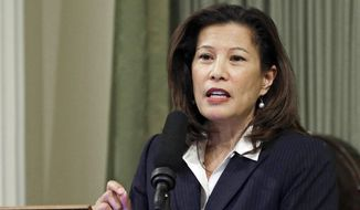 In this March 23, 2015 file photo, California Supreme Court Chief Justice Tani Cantil-Sakauye delivers her State of the Judiciary address before a joint session of the Legislature at the Capitol in Sacramento, Calif. On Tuesday, March 19, 2019, Cantil-Sakauye praised the racial and gender diversity of judges appointed by former Gov. Jerry Brown, saying he had breathed new life into the state courts. (AP Photo/Rich Pedroncelli, File)