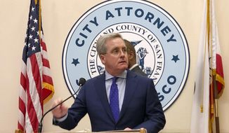 San Francisco City Attorney Dennis Herrera speaks to reporters at a City Hall news conference Tuesday, March 19, 2019. (AP Photo/Janie Har) ** FILE **