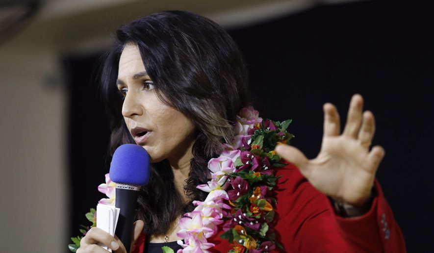 Presidential hopeful U.S. Rep. Tulsi Gabbard, D-Hawaii, speaks at an event Monday, March 18, 2019, in Las Vegas. (AP Photo/John Locher) ** FILE **