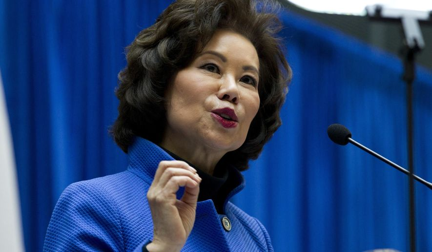 In this Dec. 11, 2018 file photo, Transportation Secretary Elaine Chao speaks during a major infrastructure investment announcement at transportation headquarters in Washington.  (AP Photo/Jose Luis Magana, File) **FILE**
