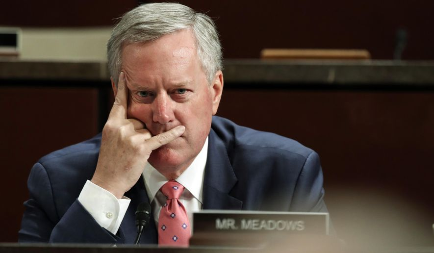 In this June 19, 2018 file photo, Rep. Mark Meadows, R-N.C., listens during a joint House Committee on the Judiciary and House Committee on Oversight and Government Reform hearing on Capitol Hill in Washington.  (AP Photo/Jacquelyn Martin) **FILE**