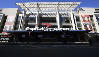 The exterior view of Capital One Arena is seen, Saturday, March 16, 2019, in Washington.  (AP Photo/Nick Wass) ** FILE **