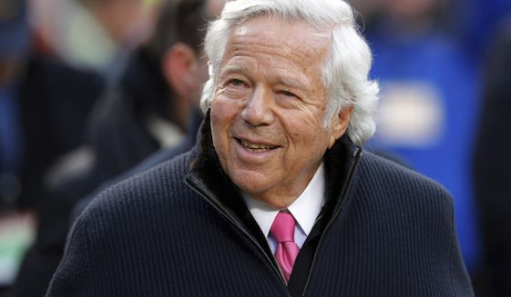 In this Jan. 20, 2019, file photo, New England Patriots owner Robert Kraft walks on the field before the AFC Championship NFL football game in Kansas City, Mo. Florida prosecutors have offered a plea deal to Kraft and other men charged with paying for illicit sex at a massage parlor. The Palm Beach State Attorney confirmed Tuesday, March 19, 2019, it has offered Kraft and 24 other men charged with soliciting prostitution the standard diversion program offered to first-time offenders.  (AP Photo/Charlie Neibergall, File) **FILE**