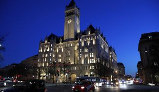 This Jan. 30, 2018, file photo shows the Trump International Hotel in Washington. (AP Photo/Alex Brandon, File)