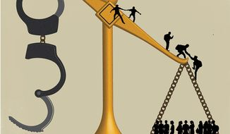 Illustration on illegal immigration and the U.S. workforce by Linas Garsys/The Washington Times