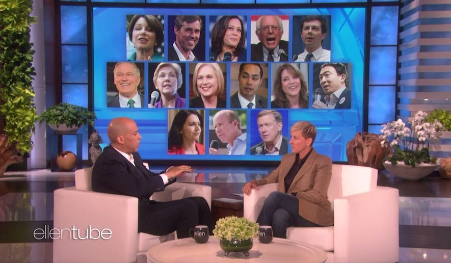 "Sen. Cory Booker appears on the ""The Ellen DeGeneres Show"" to discuss the 2020 presidential election, March 20, 2019. (Image: ""The Ellen DeGeneres Show"" video screenshot)"