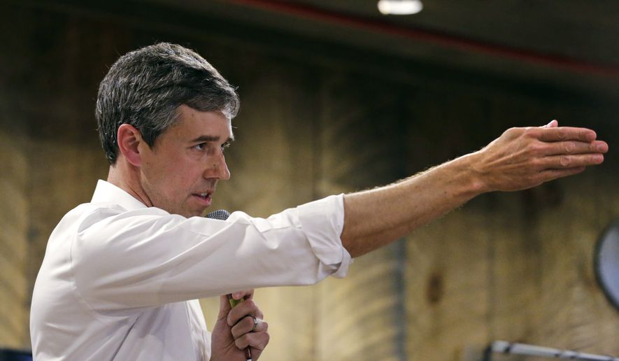 Former Texas congressman Beto O'Rourke answers a question during a campaign stop at a brewery in Conway, N.H., Wednesday, March 20, 2019. O'Rourke announced last week that he'll seek the 2020 Democratic presidential nomination. (AP Photo/Charles Krupa)