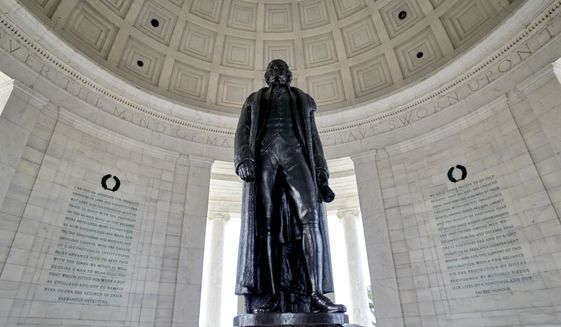 The Thomas Jefferson Memorial is seen in this general view. Monday, March 11, 2019, in Washington D.C. (AP Photo/Mark Tenally) ** FILE **