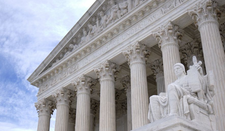 The west face of the Supreme Court of the United States is seen in this general view. Monday, March 11, 2019, in Washington, D.C. (AP Photo/Mark Tenally)